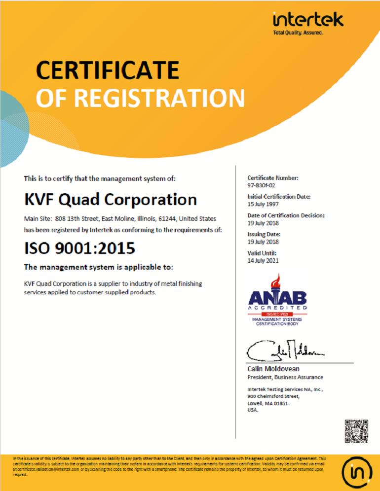 KVF Quad Corporation : Powder Coating - Abrasive Blasting